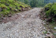 Gursai-Pathanatir Road in shambles in Mendhar Sub Division of Poonch. —Excelsior/ Rahi Kapoor.