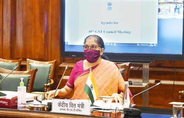 Minister for Finance and Corporate Affairs Nirmala Sitharaman chairing the 40th GST Council meeting via video conferencing in New Delhi on Friday. (UNI)