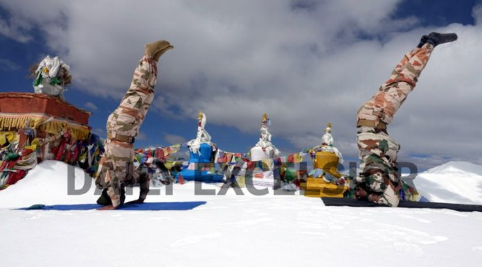 ITBP personnel practising Yoga somewhere in Ladakh on International Day of Yoga 2020 on Sunday. (UNI)