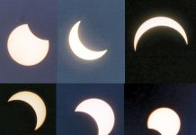 Different stages of solar eclipse as witnessed in Jammu on Sunday. -- Excelsior/Rakesh