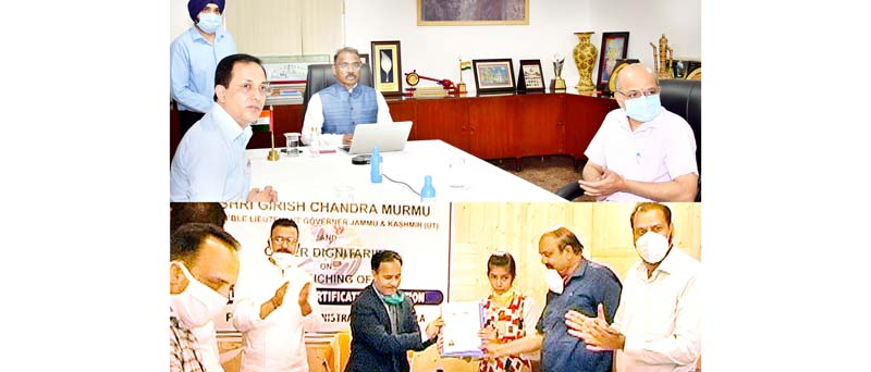 Lieutenant Governor G C Murmu launching e-application-cum-issuance of domicile certificate in Jammu on Monday.