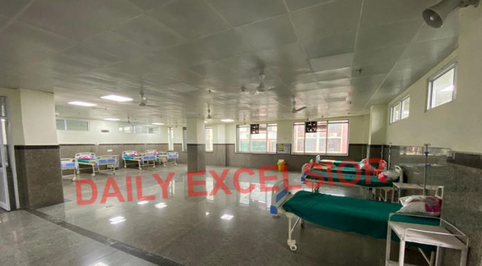 An inner view of 200-bedded designated Level-2 COVID Hospital at Gandhi Nagar, Jammu.