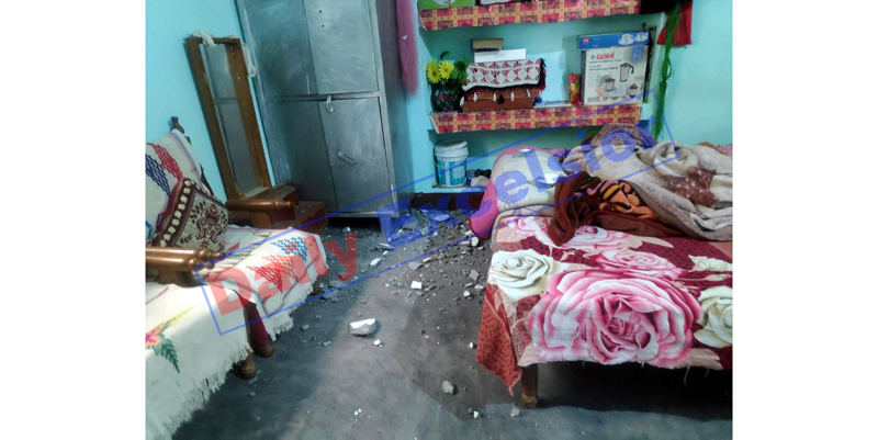 Damage caused inside a r oom of the house in Pak shelling in Mendhar sector on Sunday. — Excelsior/Rahi Kapoor
