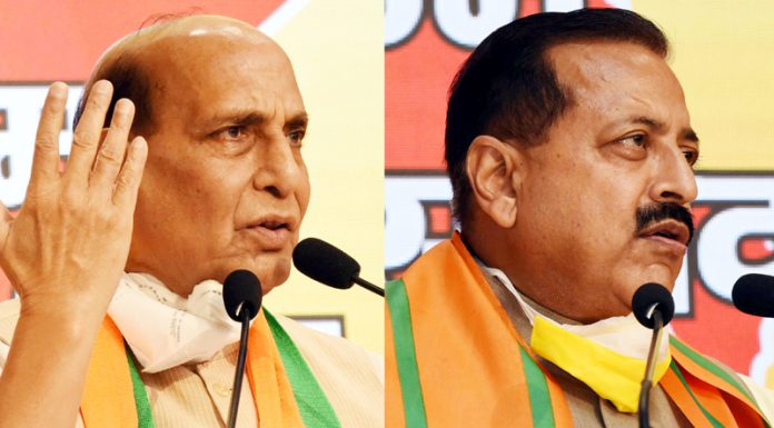 Defence Minister, Rajnath Singh and Dr Jitendra Singh, Minister of State for the Ministry of Development of North Eastern Region addressing the Jammu and Kashmir Jan- Samvad, a virtual rally at BJP headquarters in New Delhi on Sunday. (UNI)