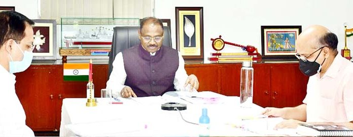 Lieutenant Governor G C Murmu chairing Administrative Council meeting in Jammu.
