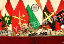 Senior Army, CRPF and police officers at a press conference in Srinagar on Friday. -Excelsior/Shakeel