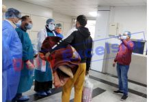 A COVID patient being discharged from JLNM hospital Srinagar after treatment on Sunday. — Excelsior/Shakeel