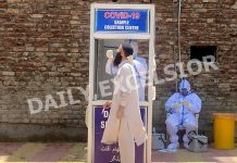 A person being tested for COVID at Batamaloo, Srinagar on Thursday. —Excelsior/Shakeel
