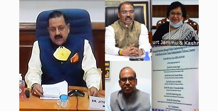 Union Minister, Dr Jitendra Singh, Lt Governor, G C Murmu, CAT Chairman, Justice L Narasimha Reddy and Chief Justice J&K High Court, Justice Gita Mittal at inauguration of CAT J&K on Monday.