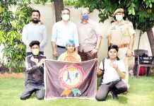 Winners of online Speedball Championship posing along with dignitaries in Jammu.