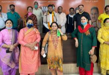 BJP delegation from Kashmir during a meeting at Jammu on Monday.
