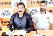 JKNPP chairman, Harsh Dev Singh at a press conference at Jammu on Thursday.