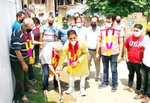 Corporator Ward 56 Baldev Singh Billawaria kick starting development works in Gangyal on Thursday.