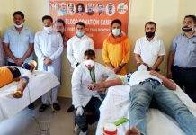 BJYM activists donating blood at Samba on Thursday.