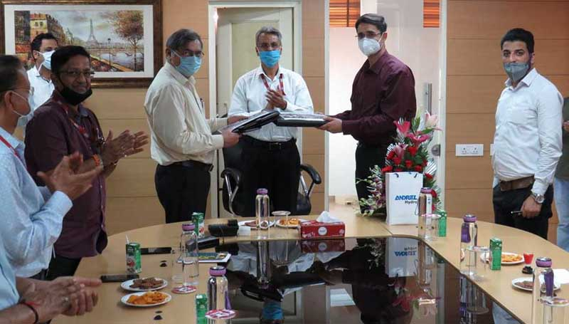Representatives at CVPPPL signing contract with M/s Andritz Hydro Pvt Ltd India at Jammu on Monday.