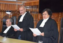 Chief Justice Gita Mittal administering oath to newly appointed Judge of J&K HC.