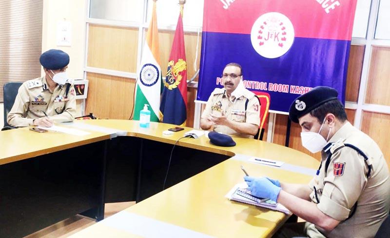 DGP Dilbag Singh chairing a meeting at Police Control Room Srinagar.