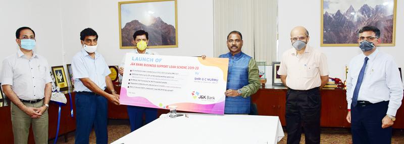 Lieutenant Governor, Girish Chandra Murmu launching J&K Bank Business Support Loan Scheme on Wednesday.
