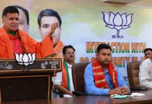 BJP president, Ravinder Raina addressing SC Morcha meeting at Jammu on Sunday.
