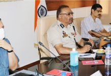 DGP Dilbag Singh chairing a high-level meeting on Thursday.