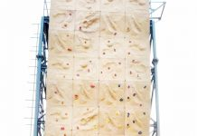 Artificial climbing wall erected by Tourism Department at Surinsar.