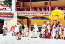 Monks performing symbolic mask dance in empty court yard as Hemis festival began on Tuesday.