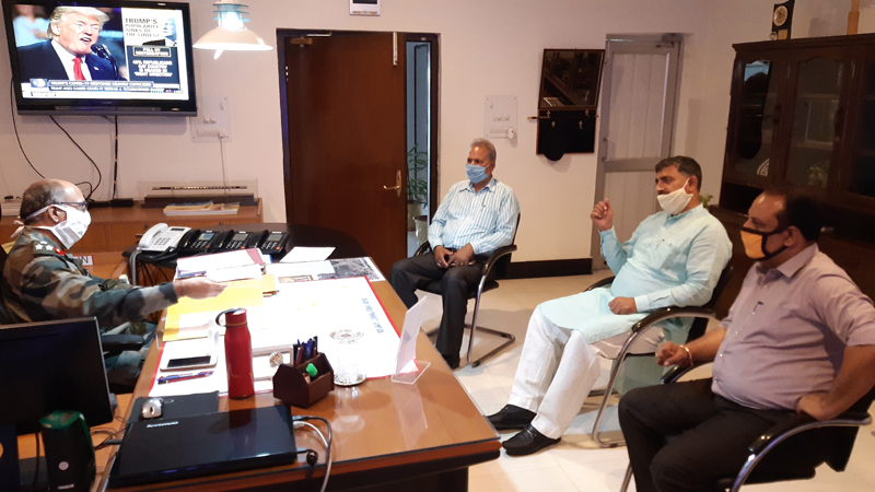 MP, Jugal Kishore Sharma during a meeting with CE, BRO YK Ahuja on Thursday.
