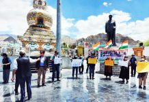 Congress leaders and activists paying tributes to Galwan Valley martyrs in Leh on Friday.