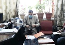Deputy Chairman LAHDC Tsering Sandup chairing a meeting at Leh.