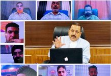 Union Minister Dr Jitendra Singh holding a video conference  meeting to discuss COVID prevention measures with representatives of Municipal bodies of Jammu & Kashmir on Wednesday.