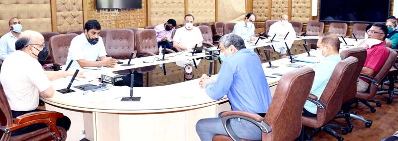 Chief Secretary BVR Subrahmanyam chairing a meeting on Monday.
