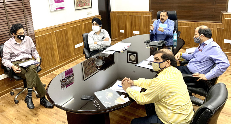 Union Minister Dr Jitendra Singh holding a webinar meeting with senior officials of Ministry of Northeast (DoNER) and North Eastern Council Shillong, on Tuesday.