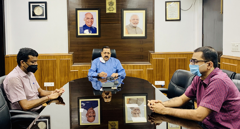 Union Minister Dr Jitendra Singh addressing a Virtual Conference of Heads and representatives of National Medical Teaching Institutes, on Monday.