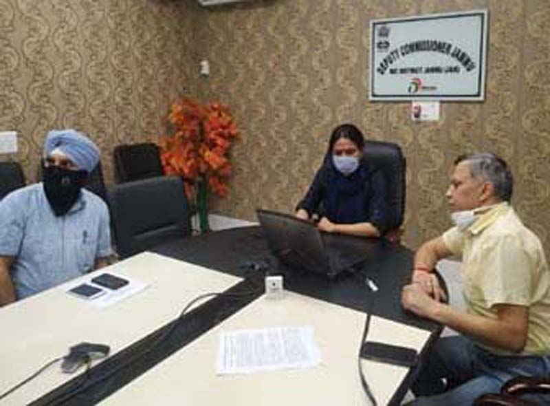 DC Jammu Sushma Chauhan launching PRMS and SMS Services for travellers on Tuesday.