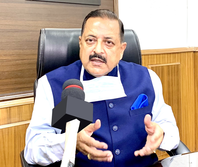 Union Minister Dr Jitendra Singh briefing about the recent ISRO achievements and its future plans, at New Delhi on Monday.