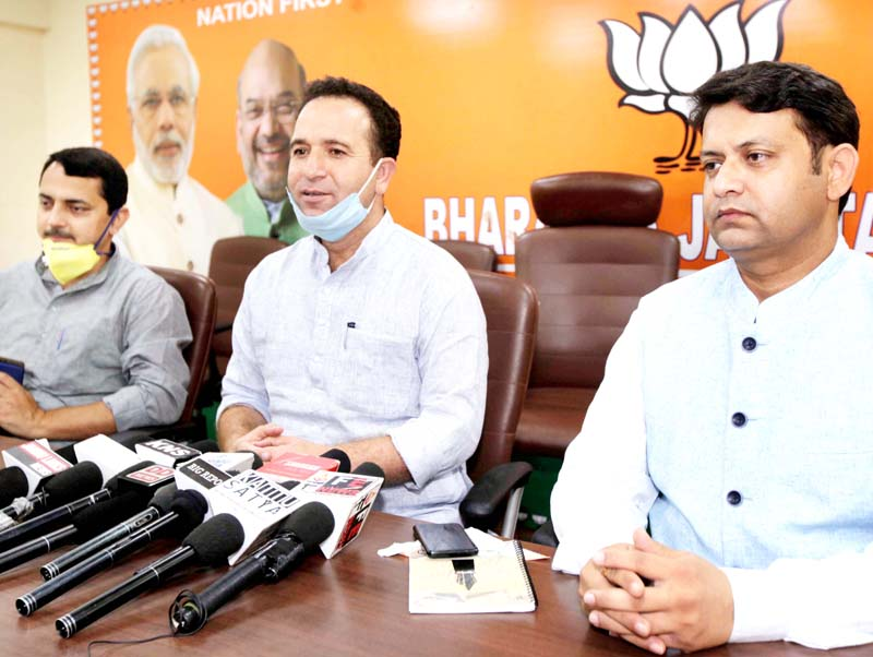 BJP leaders at a press conference at Jammu on Sunday. -Excelsior/Rakesh
