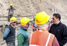 MP Ladakh inspecting development work.