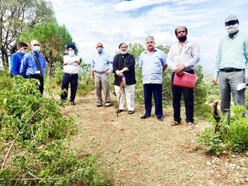 Team inspecting site for Yoga Centre at Central University of Jammu on Monday.
