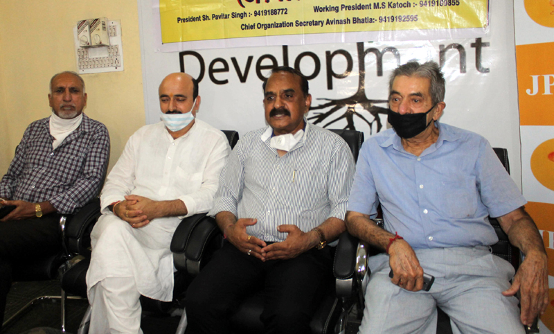 Leaders of JPPF addressing a press conference at Jammu on Monday. — Excelsior/Rakesh
