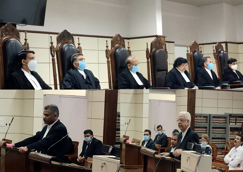 Chief Justice, Judges of the High Court, AG and Bar president paying tributes to Senior Advocate B S Slathia on Monday.