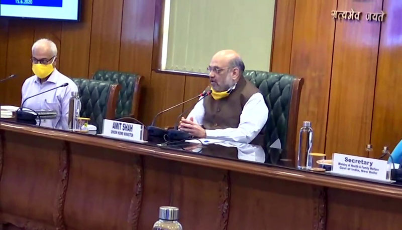 Union Home Minister Amit Shah holds a meeting with the leaders of all political parties of Delhi to discuss about the novel coronavirus situation, at North Block in New Delhi. The meeting was held in the wake of rising COVID-19 cases in Delhi.