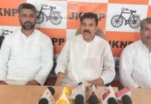 Chairman JKNPP Harsh Dev Singh interacting with media persons at Jammu on Monday.