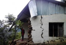 Building of GPS Chabber damaged in earthquake. -Excelsior/Rafi Choudhary