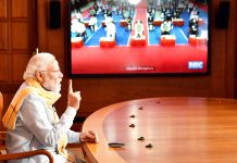 Prime Minister, Narendra Modi addressing the 25th Foundation Day of the Rajiv Gandhi University of Health Sciences at Bengaluru via video conferencing, in New Delhi on Monday.