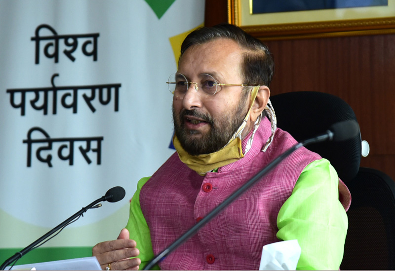 The Union Minister for Environment, Forest & Climate Change, Information & Broadcasting and Heavy Industries and Public Enterprise, Shri Prakash Javadekar addressing at the virtual celebration of the World Environment Day, 2020 with focus on Nagar Van (Urban Forest) on the theme 'Biodiversity', in New Delhi on June 05, 2020.