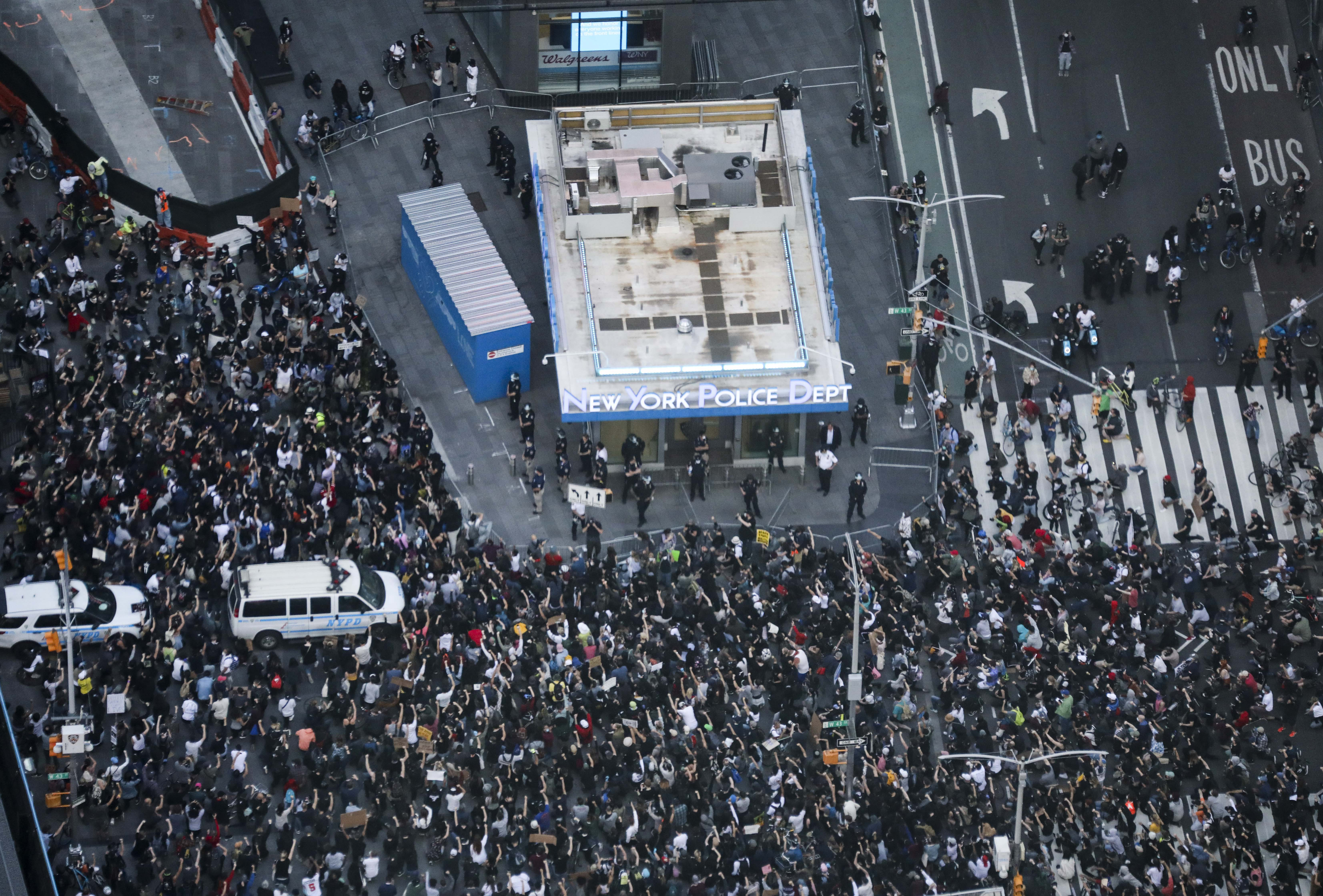 Demonstrators protest against police brutality on Times Square in Manhattan of New York, the United States. (UNI)