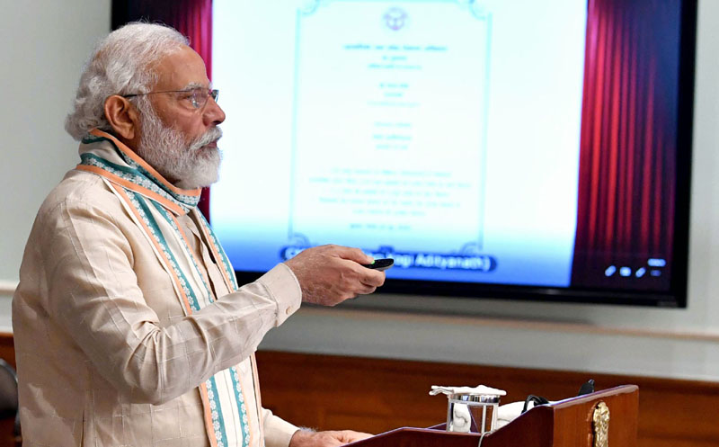 Prime Minister, Narendra Modi inaugurating 'Aatma Nirbhar Uttar Pradesh Rojgar Abhiyan' through video conferencing from New Delhi on Friday