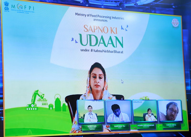 "Union Minister for Food Processing Industries, Harsimrat Kaur Badal virtually launching the ""Sapno Ki Udaan"" under Atma Nirbhar Bharat, in New Delhi on Monday."