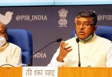 Union Minister of Electronics and Information Technology Ravi Shankar Prasad with MoS Sanjay Dhotre addressing a press conference during the launch of Electronic Manufacturing Schemes, in New Delhi on Tuesday. (UNI)