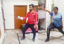 Players practicing fencing at their respective homes during 'Online Classes'.